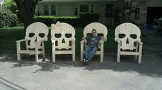Awesome wood skull chairs