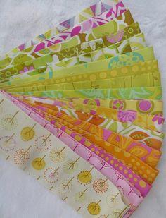 """Wildwood Design Jelly Roll 40 2.5"""" Quilt Fabric Strips Erin Mcmorris em15, em16, em17, lime, lotus, flower shower, gold, modern vine, em09"""