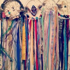 dream catchers, I love the use of ribbon and lace.