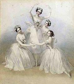 Carlotta Grisi(left), Marie Taglioni (center), Lucille Grahn (right back), and Fanny Cerrito (right front) in the Perrot/Pugni Pas de Quatre, London, 1845