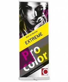 "Roll-Up Banner ""Xtreme"" via portablemarketing. Laat je roll up banners drukken… Book Design, Layout Design, Print Design, Web Design, Pull Up Banner Design, Pop Up Banner, Event Branding, Branding Design, Rollup Design"