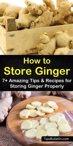 Learn how to store ginger at home in your pantry or refrigerator for short-term use. For longer storage, try your ginger root or storing it in dry sherry. Discover how to grow your very own ginger in containers for year-round storage that doesn't spoil. How To Store Ginger, How To Eat Ginger, Storing Fresh Ginger, Ginger Uses, Benefits Of Ginger, Cooking With Ginger, Recipes With Ginger Root, Tea Recipes, Cooking Recipes
