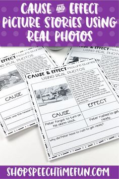 "Looking for ways to work on cause and effect without being a reading task? Looking for simple activities perfect for older speech students that isn't ""too cute""? These picture stories will help teach and practice this tricky higher level thinking concept."