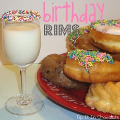 LOVE this tradition.. Wake up on birthday morning to a donut cake and glass of milk with a sprinkled rim!!