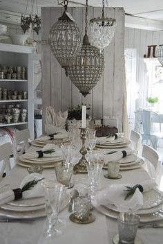 french linens, mercury glass and antique chandeliers - fresh, crisp and white - gorgeous