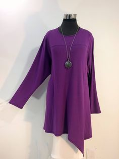Plus size 3X tunic in violet bamboo blend fabric. by qualicumclothworks on Etsy