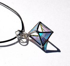 3D Dichroic Octahedron Necklace Stained Glass Jewelry door LAGlass