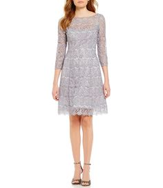 Kay Unger Sequin Lace 34 Sleeve Fit and Flare Dress #Dillards