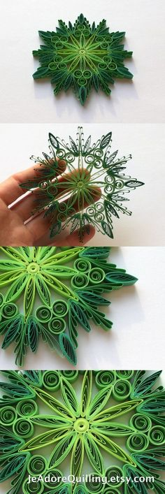 Snowflake Green Christmas Tree Decoration Winter Ornaments Gifts Toppers Fillers Office Corporate Paper Quilling Quilled Art