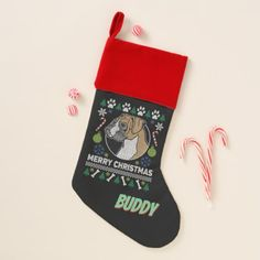 Personalized Boxer Dog Ugly Christmas Sweater Christmas Stocking - christmas stockings merry xmas cyo family gifts presents