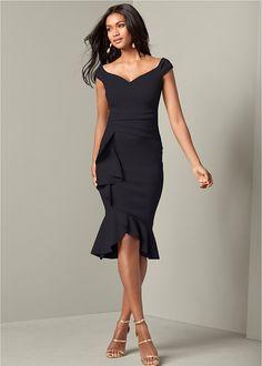 Ruffle Detail Dress in Blush | VENUS