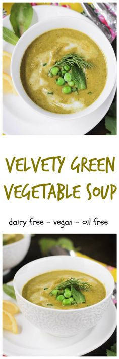 Velvety Green Vegetable Soup - smooth and creamy and loaded with spring greens! It's as delicious as it is healthy!