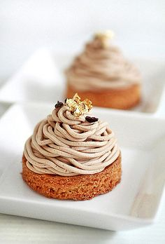 https://flic.kr/p/6htAso | Mont Blanc | sable breton base, creme chantilly center, chestnut cream laced with vanilla & rum, cocoa nib & gold foil decor.  thank you aran of cannelle et vanille for the sable breton & chestnut cream recipe :D its perfect!!
