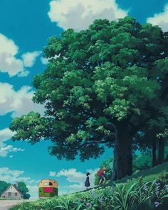 "ghibli-collector: ""Vertical Pan Shots - Kiki's Delivery Service "" Studio Ghibli Background, Animation Background, Art Background, Hayao Miyazaki, Fantasy Landscape, Landscape Art, Totoro, Studio Ghibli Art, All Studio Ghibli Movies"