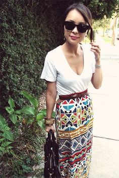 love this patterned maxi dress-turned skirt ...