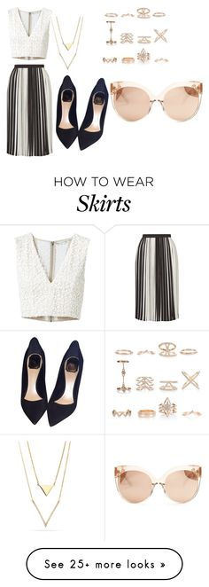 """""""striped skirt"""" by carline7 on Polyvore featuring Topshop, Alice + Olivia, Christian Dior, New Look and Linda Farrow"""