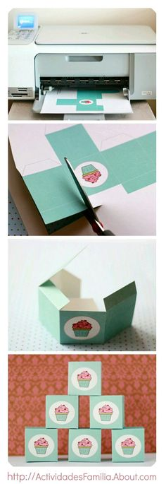 Christmas Gift Box Ideas – Make box type containers Cupcake Packaging, Food Packaging, Packaging Ideas, Cupcake Boxes, Box Cupcakes, Cupcake Favors, Diy Cupcake, Diy And Crafts, Paper Crafts