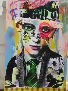 Collage and Graffiti old Portraits Street Art / DAIN Pop Art, Graffiti Art, Art Du Collage, Art Visage, Inspiration Artistique, Old Portraits, Muse Art, Art Et Illustration, A Level Art