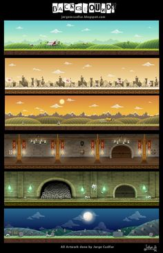 Colours in the top image are lovely  ANIMATION BACKGROUNDS by Jorge Cuellar, via Behance