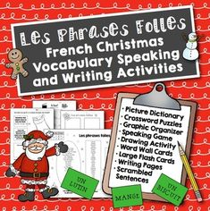Noël: French Christmas Vocabulary Speaking and Writing Activities -Revised for November More than just worksheets, these activities will help scaffold your students to move from comprehension to speaking to writing in French. Word Wall Activities, Vocabulary Activities, Writing Activities, Teaching Resources, Christmas Activities, Teaching Ideas, Learning French For Kids, Ways Of Learning, Teaching French