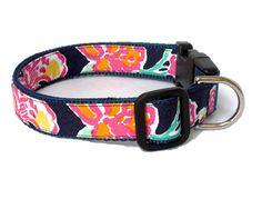 Dog Collar Made from Lilly Pulitzer Navy Pretty by Lillyduds