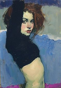 Malcolm T. Liepke (b. 1953), oil on canvas, 1990 {figurative art beautiful female redhead torso woman portrait painting #loveart}