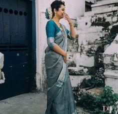 goodness, Sky Blue Saree, Blue Silk Saree, White Saree, Bridal Sarees South Indian, South Indian Bride, Half Saree Designs, Saree Blouse Designs, Kanjivaram Sarees, Silk Sarees