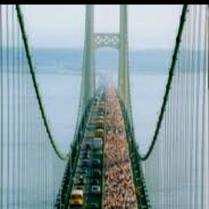 I walked across this Bridge when I was 5. In 1977. Mackinaw Bridge in Michigan http://www.mackinacbridge.org/annual-bridge-walk-7/