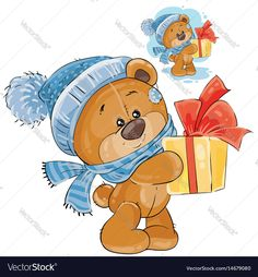 Vector clip art art illustration of a teddy bear in a knitted cap and scarf handing a gift box. Print, template, design element. Download a Free Preview or High Quality Adobe Illustrator Ai, EPS, PDF and High Resolution JPEG versions.