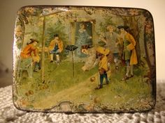 enameled tin box with lawn bowlers
