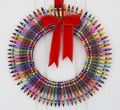 Crayon Christmas wreath. This is one of the most unique and funny looking wreaths. It helps make use of a variety of colors and at the same time saves you from buying any other expensive materials for your wreath because you can now use your old crayons.