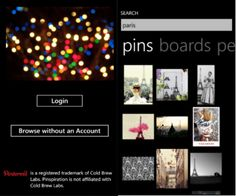 Pinspiration is a 3rd party app for made especially for using Pinterest on windows phone. Allows users to browse images & post them to Pinterest.