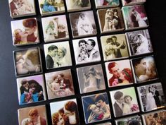 Wedding Favors: customize your name and date vintage couples tile magnets