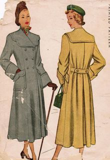 1940s coat wool trench tan grey double breasted color illustration  print ad vintage fashion style women hat