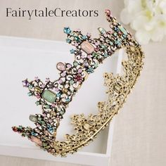Home of The Magical Fairytale Crown, Tiara and Tutu! Floral Headdress, Vintage Wreath, Tiaras And Crowns, Gold Hair, Crystal Rhinestone, Crystal Jewelry, Making Ideas, Just In Case, Fairy Tales