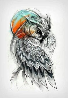 This image shows a pretty drawing of an owl. The owl's posture is facing forward but its head is slightly tilted down. There is an array of red and blue colors just above its head. #tattoofriday #tattoos #tattooart #tattoodesign #tattooidea