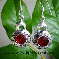 Red Garnet Mandala Earrings Sterling Silver
