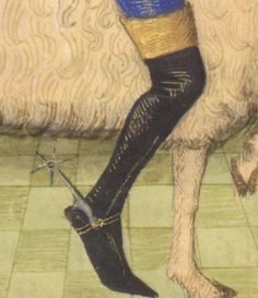 Spur and riding boot. Detail from Lust, Robinet Testard, Poitier, France. circa1475 Held at Morgan Library