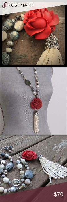 "Red Rose White Pearl Tassel Necklace Black Agate Long pearl, agate, jade, crystal and glass necklace with red clay rose pendant and pearl tassel.  Length : Approximately 30"" (pendant and tassel add 6"")  Matching earrings are included. Jewelry Necklaces"