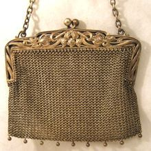 Vintage Sterling Silver Mesh Purse Water Lily Engraved Frame