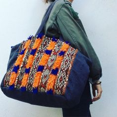Grand Cabas Bab Taza. Vintage kilim bag; linen bag