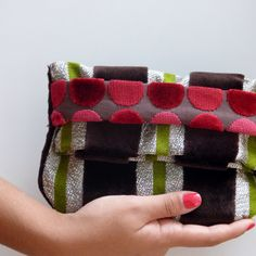 Striped pattern foldover clutch. Top quality italian woven velvet fabric. One-of-a-kind purses. This is luxury, when is just gor you!