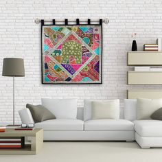 Great decor idea for Mom! Beautiful Indian multicolour Gujarati wall hanging with beadwork