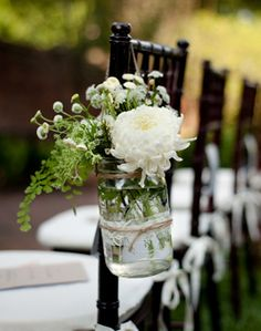 Great chair decoration and when ceremony is done you can place them on the appetizer table