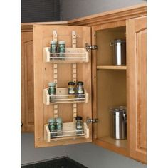 Rev-A-Shelf 4ASR-15 4ASR Series Adjustable Door Mount Spice Rack with 3 Shelves for 15 Wall Cabinet, Brown maple (Wood)