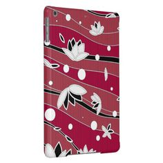 White Lotus Flowers on Red Stripes iPad Air Case