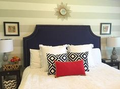 This newly finished king size headboard has me thinking, maybe I should just curl up in bed and call it a day! It's adorned with stunning dark blue fabric and two rows of nail head trim. || Made to attach to the wall, mounting hardware included.  #bedroom #bedroomdesign #bed #kingbed #fitforaking #fitforaqueen #inspiremehomedecor #homedecor #home #kingsuite #bedroomsuite #masterbedroom #masterbed #headboard #upholsteredheadboard #nailheadtrim #indigo #ilovecolor #headboardwithnailheadtrim…