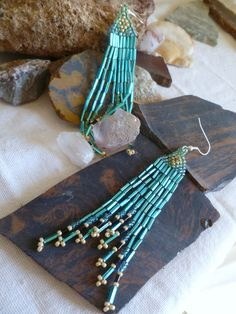 Song of the teal Beaded Earrings by GemRio on Etsy, $24.00