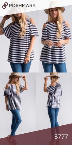 Just In!! 🦋Navy striped cold shoulder top 100% polyester. Fits true to size, so cute! 15% off bundles of 2 or more items Tops