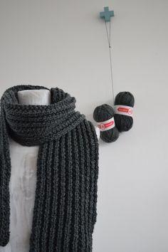 Stoere herensjaal breien..! - Happy Handmade living Easy Knitting, Knitting Patterns, Crochet Shawl, Knit Crochet, Beanie, Weaving, Creative, Blog, Handmade